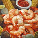Shrimp Boil and Corn Seafood New Orleans Baltas Matted Art Print French Quarter