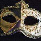 Venetian Mask Mardi Gras Masquerade Ivory Gold Marquis