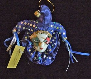 Porcelain Jester Streamers Ornament YOUR CHOICE STYLE Mardi Gras Orleans