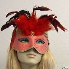 Pink and Red Feather Masquerade Mask Costume