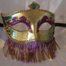 Venetian Mask Veil Purple Green Jewel Prom Mardi Gras Masquerade Costume Party