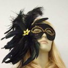 Black Feather Masquerade Ball Mardi Gras Mask New Orleans Party Halloween Prom