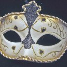 Venetian Mask Braided Black and Gold Sambo Mardi Gras