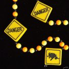 DANGER BS WARNING Mardi Gras Necklace Beads FUNNY Bead