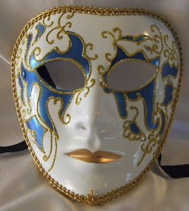 Full Face Mask Montego Blue Costume Prom Mardi Gras New Orleans Masquerade