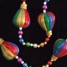 Hot Air Balloon Multi Color Mardi Gras Necklace Beads