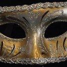 Venetian Mask Glitter Mardi Gras Silver and Gold Scroll