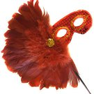 Red Feather Wand Gold Cluster Mask Masquerade Ball Mardi Gras Party Lady