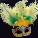 SHOWGIRL OSTRICH Feather Mask Gold Star Burst Party