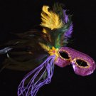 Purple Sequin Feather Mask Ostrich Masquerade Costume