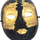 Venetian Full Mask Black with Gold Musical Score Masquerade Ball Costume Party