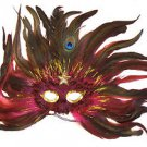 Feather Mask Flame Star Hot Pink Mardi Gras Masquerade Ball Decor Party Prom