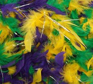 Mardi Gras Color Feather Boa Purple Green Gold Masquerade Fashion Glamour Party