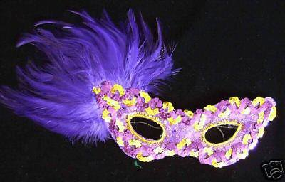 Halloween Mask Purple Feather Purple & Gold Sequins