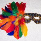 Rainbow Mardi Gras Sequin Feather Dress Up Party Mask