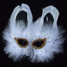 SNOW KITTEN Cat Mardi Gras Mask Feather Halloween Party New Orleans Prom