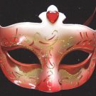 Venetian Party Mask Red with Red Jewel Mardi Gras Party