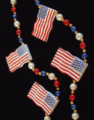 USA US Flag Mardi Gras Beads American Flags Tea Party