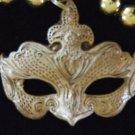 Golden Venetian Mask Mardi Gras Beads New Orleans Party