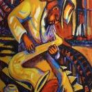 Serenade Jazz Sax New Orleans Art Print Red Matte