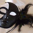 Venetian Half Face Mask Black With Black Feathers Mardi Gras Halloween Costume