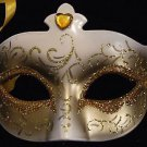 Venetian Mask Gold and Ivory Jewel Mardi Gras Party Fun