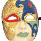 Venetian Full Mask Blue Lips & Gold Masquerade Costume Party New Orleans Prom