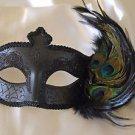 Venetian Eye Mask Black With Jewel & Feathers Mardi Gras Halloween Costume