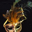 SHOWGIRL OSTRICH Feather Mask Gold Metallic with Gold