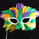 Mardi Gras Colors Feather Mask Masquerade Costume Party