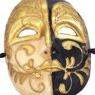 Venetian Full Mask Ivory Black Gold Masquerade Drama Ball Costume Party