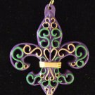 Fleur de Lis Purple Green Gold Scroll Mardi Gras Bead Necklace New Orleans