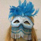 Venetian Mask Bead Veil Feather Jewel HALLOWEEN Blue
