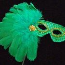 Emerald Island Masquerade Ball Mardi Gras Wand Mask Masquerade Feather Prom
