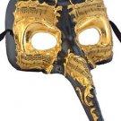 Venetian Mask Zanni Long Nose Ebony & Gold Mardi Gras Orleans Costume Party