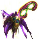 Mardi Gras Colors Sequin Wand Mask with Purple Feather Halloween Costume Party