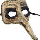 Venetian Mask Zanni Long Nose White with Black Eye Mardi Gras Halloween Orleans