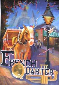 Horn & Horse New Orleans Baltas Matted Art Print French Quarter Mardi Gras