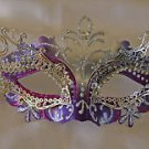 Purple & Silver Metal Eye Mask Venetian Mardi Gras Costume Party New Orleans