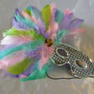 Feather Mask Silver with Pastel Feathers Mardi Gras Masquerade Decor Party