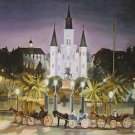 Three Horse & Buggy St Louis Cathedral New Orleans Baltas Matted Art Print