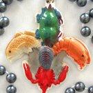 Fleur de Lis Seafood Mardi Gras Bead Necklace Oyster Shrimp Crab Red Fish Craw