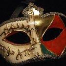 Venetian Mask Mardi Gras Man Pierrot Ivory Red Diamond