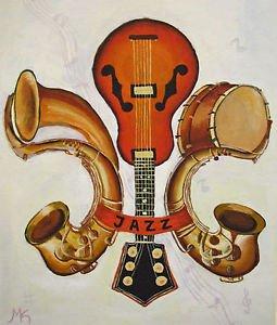 Fleur de Lis Jazz Instruments New Orleans Baltas Matted Art Print French Quarter