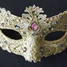 Venetian Lace & Jewels Eye Mask YOUR CHOICE COLOR Mardi Gras Costume Teen