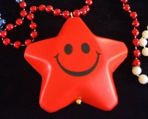 RED Star Smiley Face New Orleans Mardi Gras Beads Funny