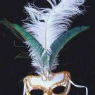 Snow Queen Sequin Mardi Gras Mask Costume Ostrich  Lady