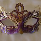 Purple & Gold Metal Eye Mask Venetian Mardi Gras Costume Party Prom Masquerade