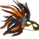 Feather Mask Black with Orange Mardi Gras Masquerade Ball Decor Party Prom