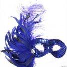 BLUE SAPHIRE SEQUIN  MASQUERADE Mardi Gras Mask Jewel